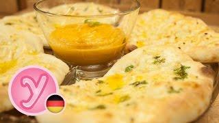Fluffiges NAAN-Brot mit Butter und Knoblauch - ein leckeres vegetarisches Gericht