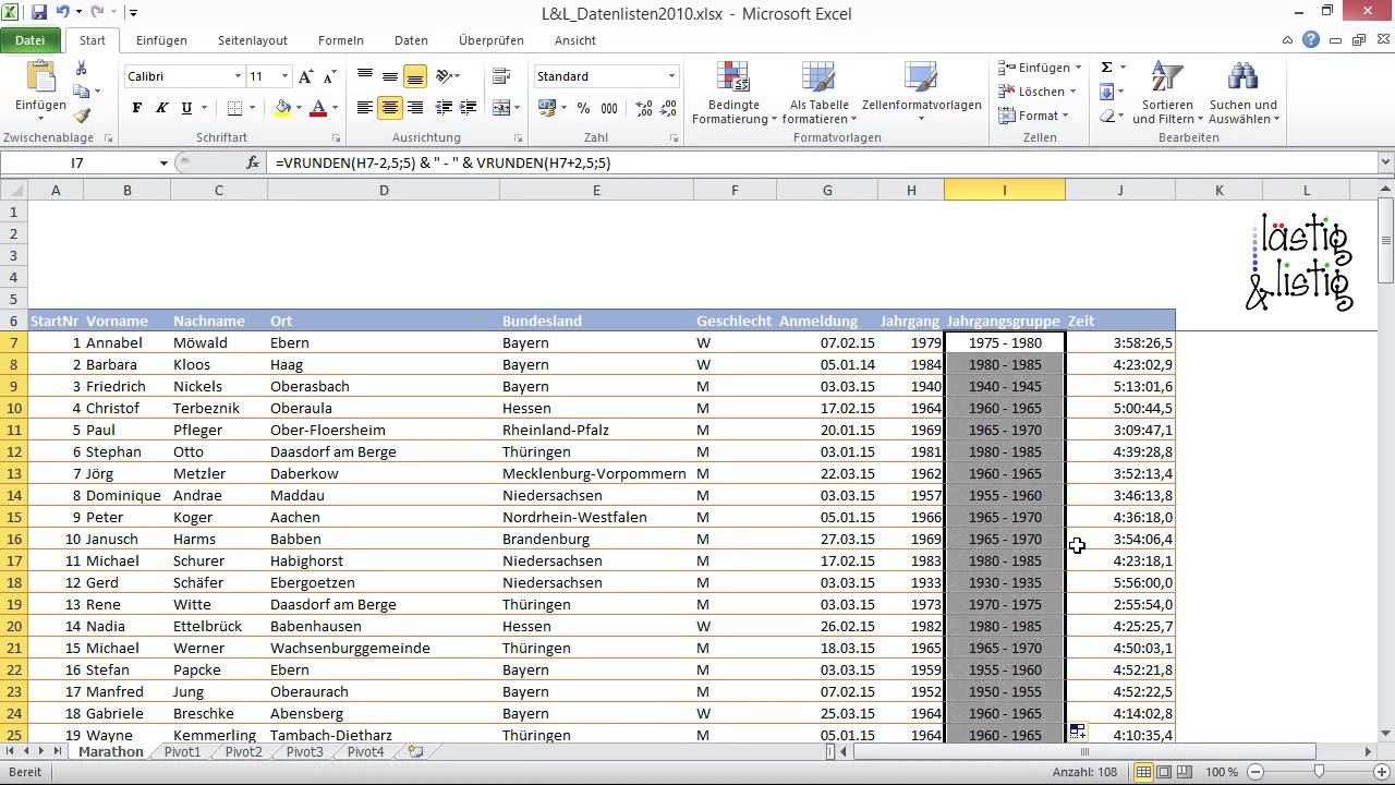 Excel 2010: Datenanalyse Tutorial: Jahrgangsgruppen bilden ...