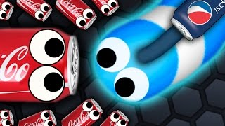 Slither.io - 500 COCA COLA SNAKES vs. 1 PEPSI SNAKE // Slitherio Gameplay! (Slitherio Funny Moments)
