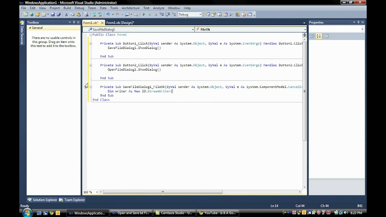 visual basic how to create a text file