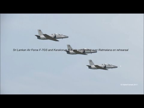 Sri Lankan Air Force F-7GS and Karakorum K-8 jets performing over Ratmalana on rehearsal