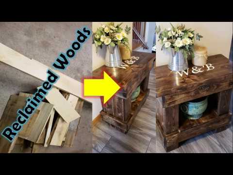 DIY : Rustic Side Table from a pallet, scrap wood | Nightstand | Chair | Burnt finish | Reclaimed
