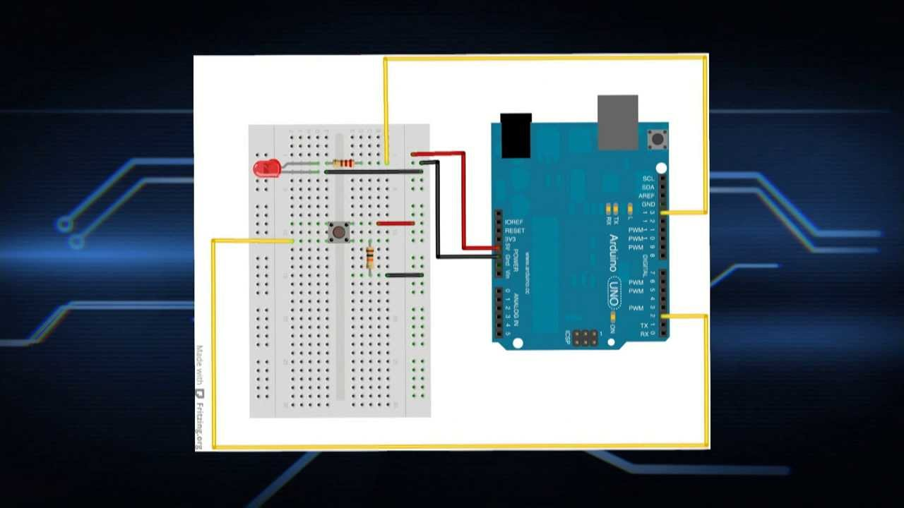Arduino Tutorial : Breadboard, first circuit, button ,LED - YouTube