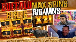 MUST SEE!!! NEW BUFFALO RISING SLOT HUGE WINS COMPILATION - REINDEEERRR!!!