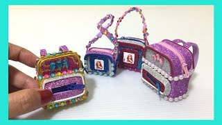 4 diy miniature barbie ~ school bag, back pack, lunch bag