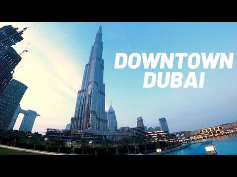 Amazing Downtown Dubai Night Walking Tour I Burj Khalifa Lake and Dubai Fountain Show  4K