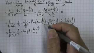 Demostración derivada logaritmo neperiano o natural
