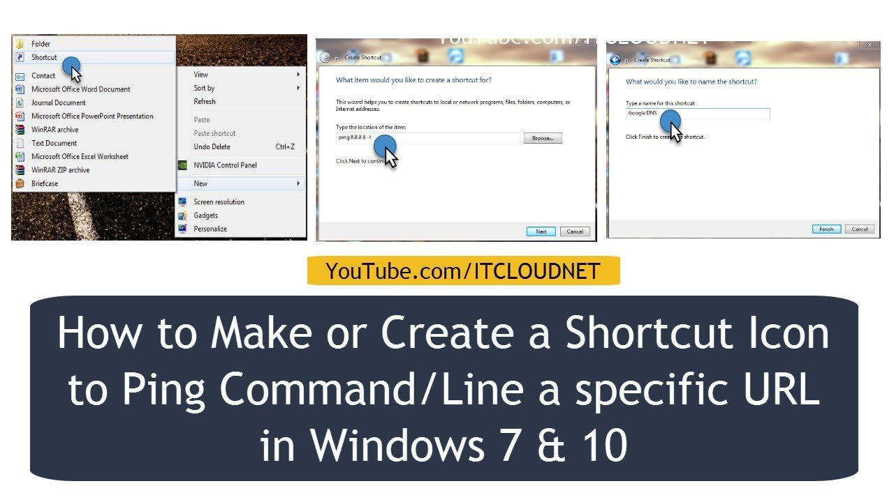 How to Make or Create a Shortcut Icon to Ping Command/Line a specific URL  in Windows 7 & 10