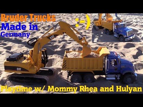 Toy Trucks for Kids: Bruder Construction Trucks. Mack Dump Truck and CAT Excavator