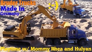 Toy Trucks for Kids: Bruder Construction Trucks. Mack Dump Truck and CAT Excavator