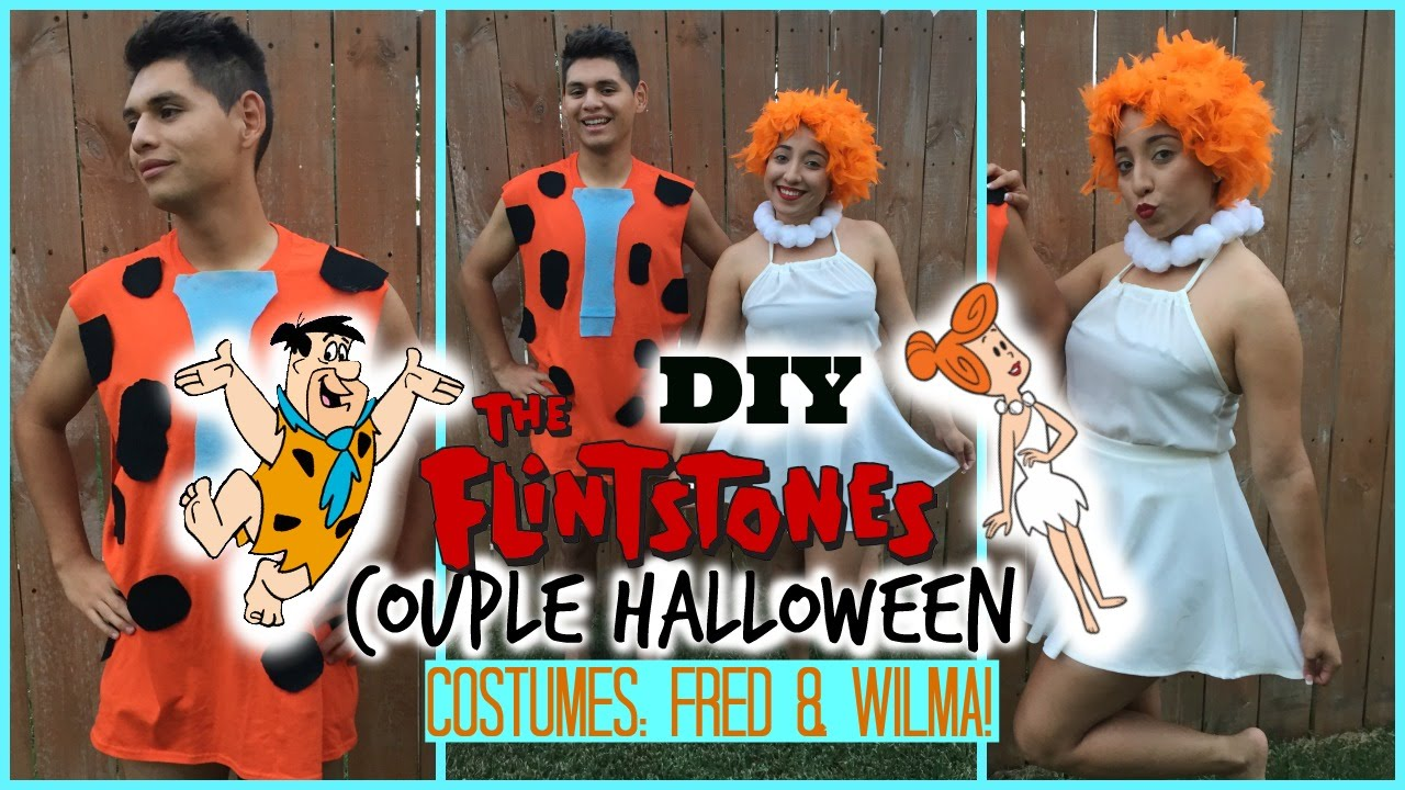 sc 1 st  YouTube & DIY Couple Halloween Costume: Fred u0026 Wilma ( The Flintstones ) - YouTube
