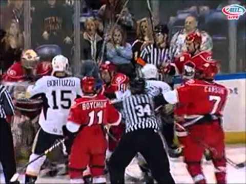 Joe Vitale vs. Justin Pogge – Skater vs. Goalie Fight – Jan 23, 2011
