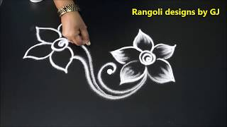 Creative Peacock rangoli art designs    Freehand bird kolams    Simple muggulu