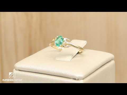 68801c8af5730 Anel Solitário com Cristal de Turmalina Paraíba