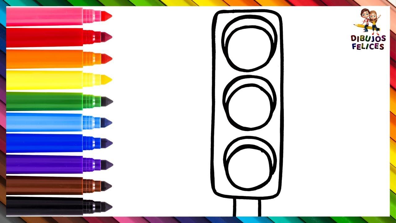 Dibuja y Colorea Un Semaforo 🚦 Dibujos Para Niños