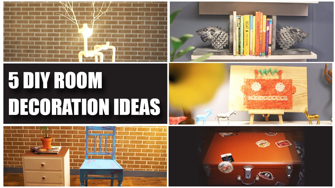 5 diy room decorating ideas youtube. Black Bedroom Furniture Sets. Home Design Ideas