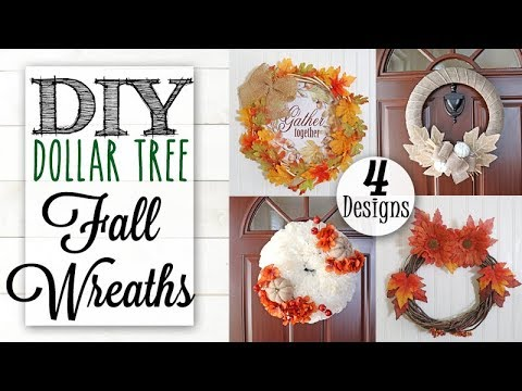 DIY Dollar Tree Farmhouse Fall Wreaths | 4 Designs!