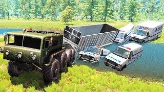 Beamng Drive - Police Chase Machine Gun vs Bandits #4