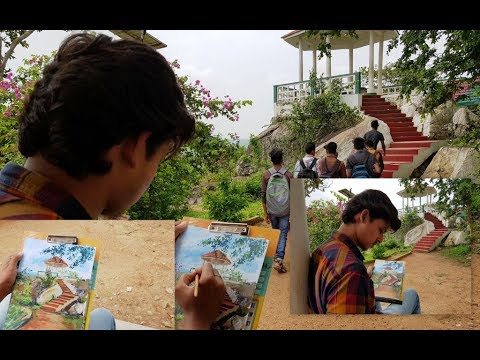 Live Acrylic Landscape Beautiful Painting- Sunrise point by Animesh |Humans of Jharkhand
