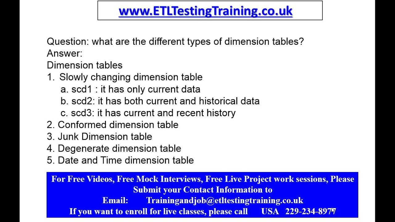 types of dimension tables etl testing interview questions types of dimension tables etl testing interview questions
