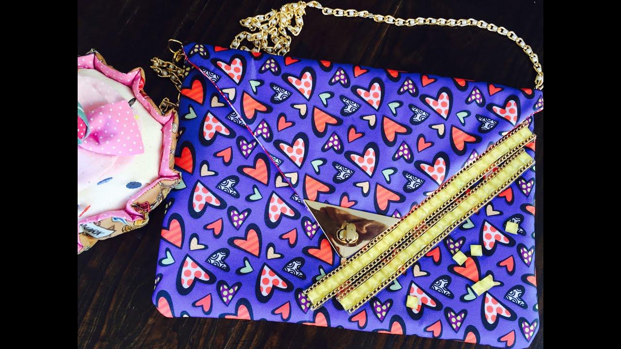 Bolsa De Tecido Com Fecho : Bolsa envelope de tecido com fecho chique