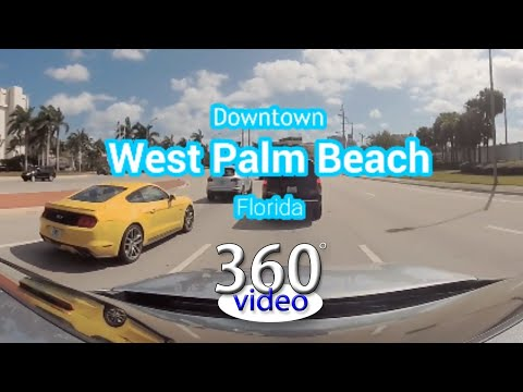 Downtown West Palm Beach, Florida drive tour in 360 Video