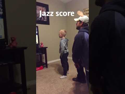 Five year old boy reacts to Utah jazz game