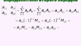 Формула для определителя второго порядка как следствие из теоремы Лапласа.