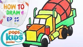 Sắc Màu Tuổi Thơ - Tập 25 - Bé Tập Vẽ Xe Trộn Bê Tông | How To Draw Concrete Mixer Truck For Kids