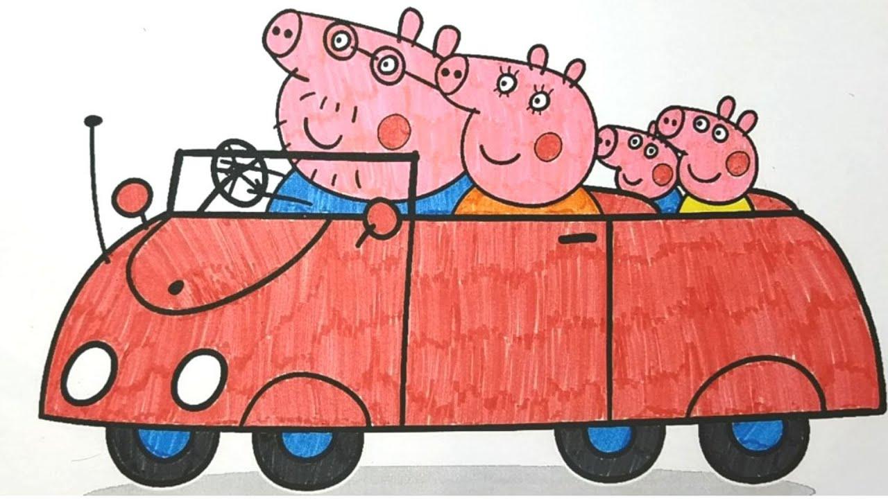 Свинка Пеппа Джордж Папа Свин и Мама Свинка едут в машине ...