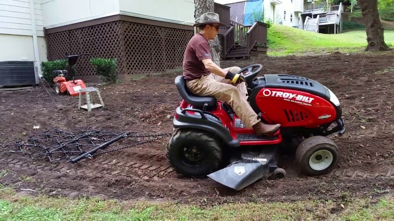 Garden Tractor Drag : Pulling drag chain harrow with troy bilt garden
