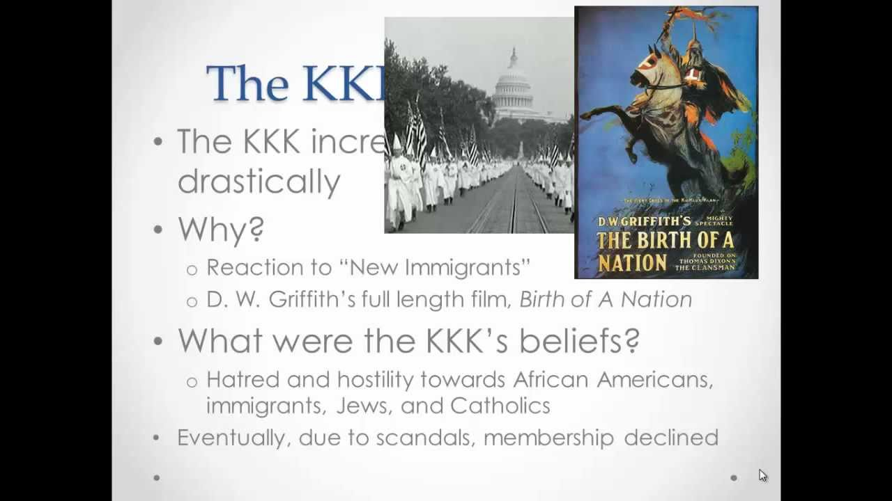 1920s the kkk essay During the early 1920s, the ranks of the ku klux klan swelled to 45 million the klan the 1920s also saw a rise in tension between whites and blacks.