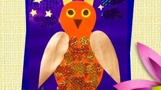 How to Make Paper Owl:Как сделать аппликацию из бумаги:СОВА