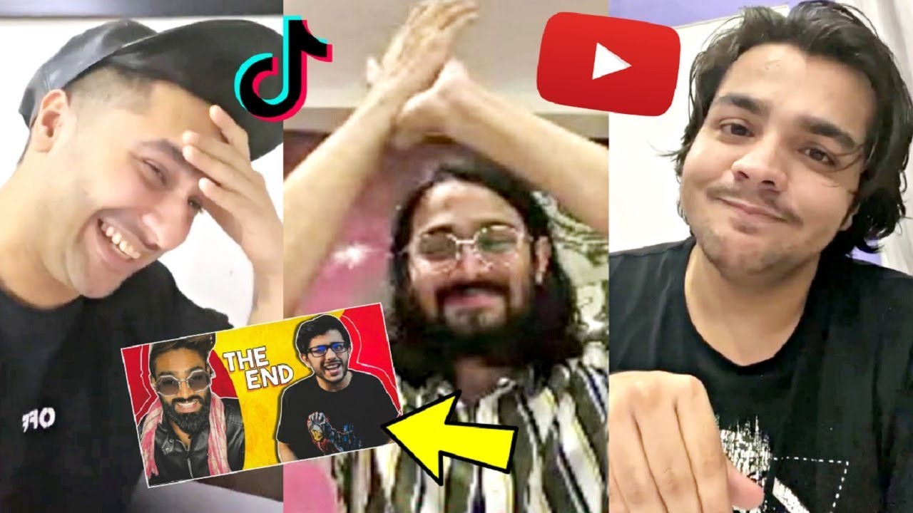 YouTubers Reaction On Carryminati Roast Tik Tok vs YouTube THE END ...