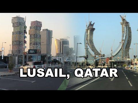 Lusail, Qatar 4K - Driving in downtown Lusail
