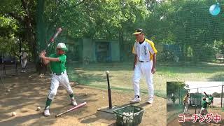 石毛宏典が野球教室でバッティングを指導(後ろ足のかかとを上げる、重心移動)