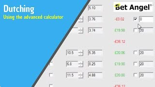 Dutching on betting exchanges using Bet Angel's advanced dutching module betfair