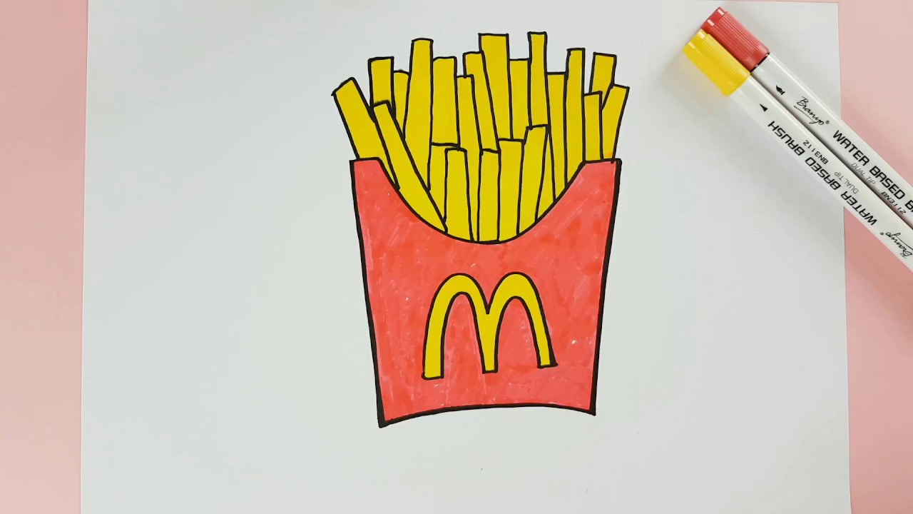 How to Color Mcdonald French Fries Kids Coloring Page - YouTube