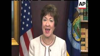 "In the weekly Republican message, Sen. Susan Collins of Maine is calling for a ""timeout"" on federal"