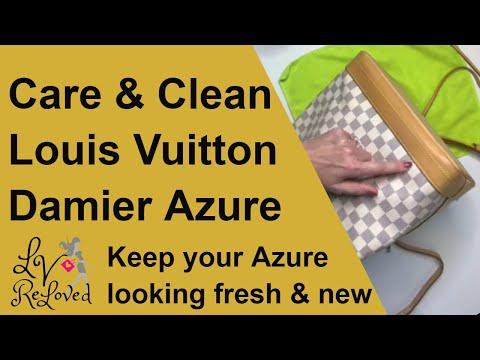 Damier Azure Color Transfer prevention & Cleaning - Vachetta care on Louis Vuitton Noe GM