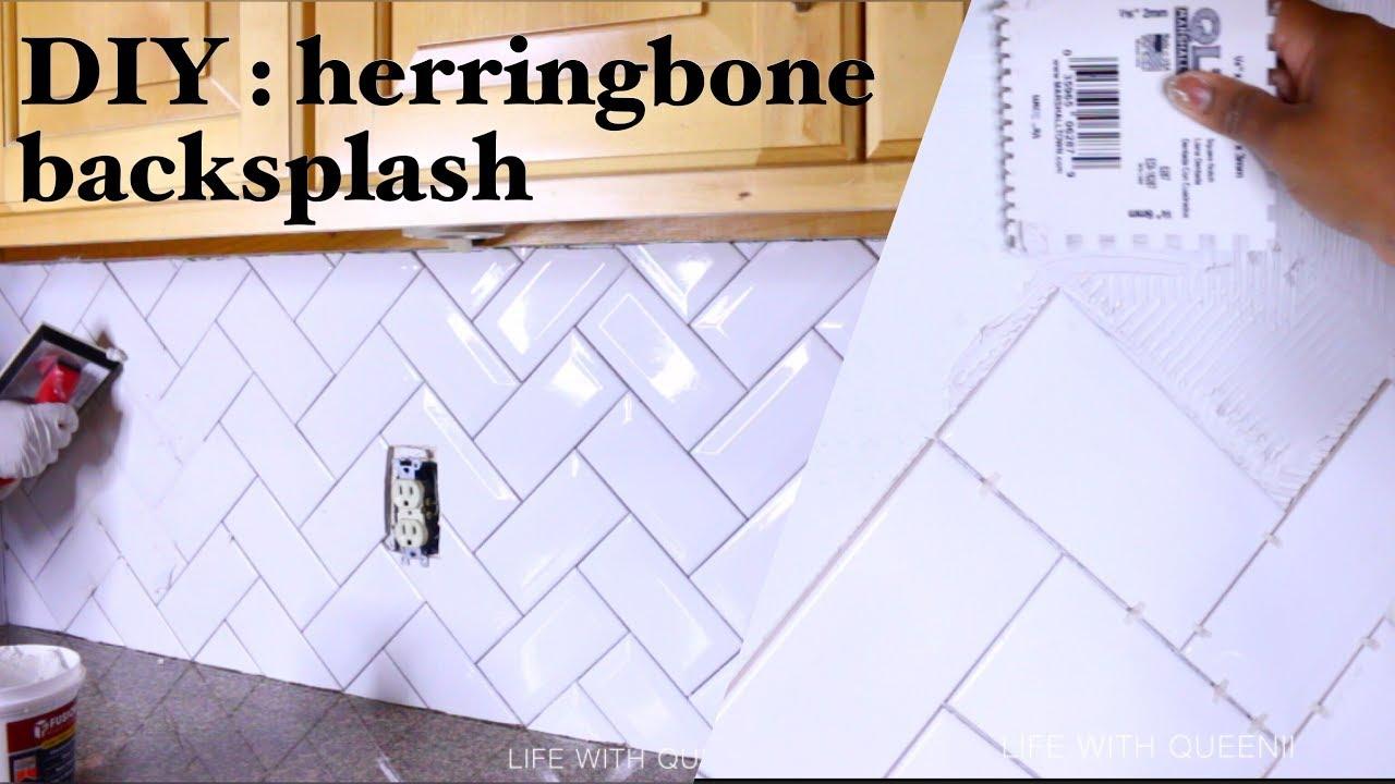 - HERRINGBONE TILE KITCHEN BACKSPLASH - Kitchen Makeover - Life With