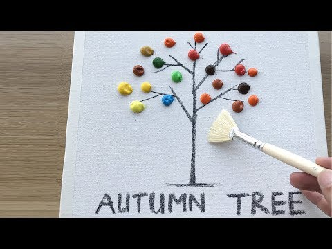 Daily Challenge #10 / Acrylic / Easy Autumn Tree Landscape Painting