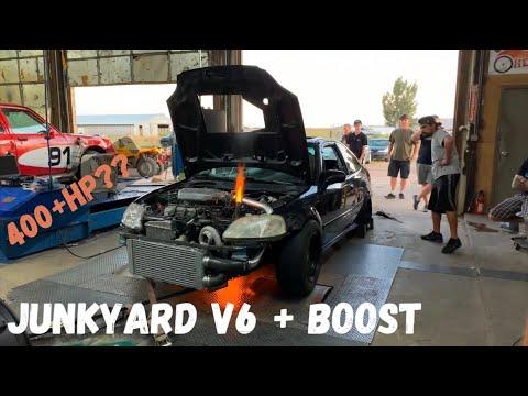 Junkyard Minivan V6 + 67mm TURBO Dyno Pulls! ( J35 Turbo EK Civic)