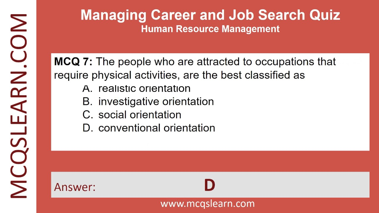 Managing Career and Job Search Quiz - HRM Quiz Questions and Answers