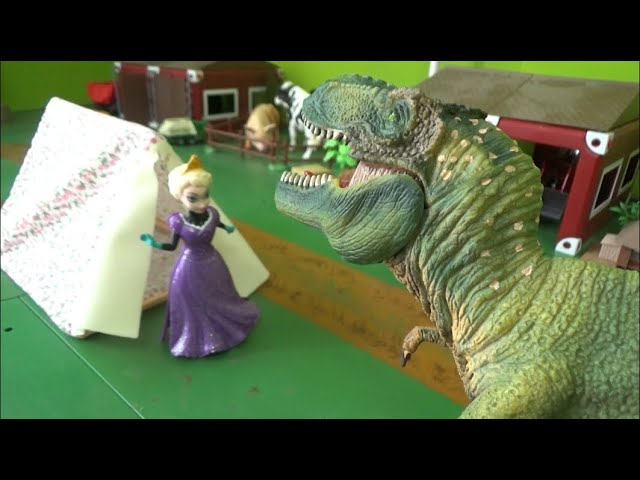 겨울왕국 엘사, 캠핑 중 공룡을 만나다 Frozen Elsa meets dinosaurs while camping