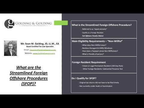 IRS Streamlined Foreign Offshore Procedures: IRS SFOP for non-US Residents. Offshore Penalty Waiver
