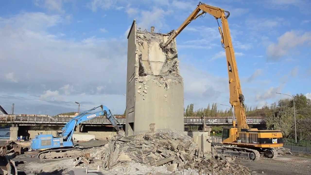 3 Silo Demolition : Silo demolition with caterpillar b uhd and zx