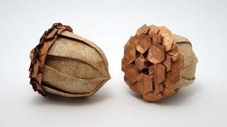 Origami Acorn (Beth Johnson) + Spread Hex Tessellation (Eric Gjerde)