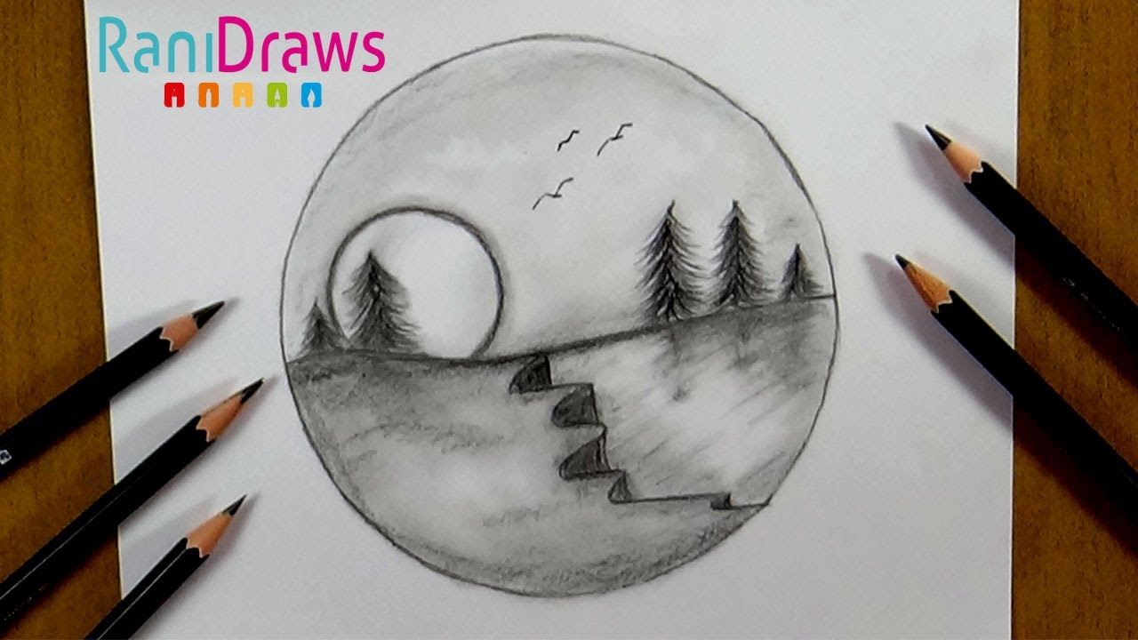 Cómo Dibujar Un Paisaje Con Lápiz Paso A Paso Youtube