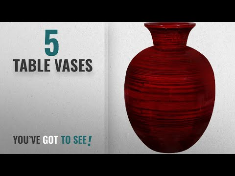 """Top 10 Table Vases [2018 ]: Bamboo Vase Centerpiece - Red Glossy Finish, Wood Grain Design, 14.25"""""""